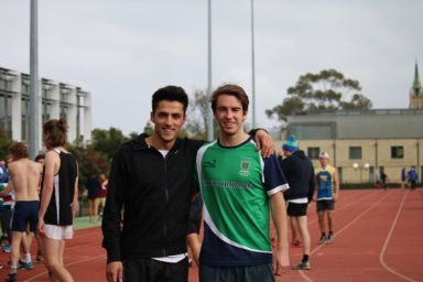 Two students at athletics