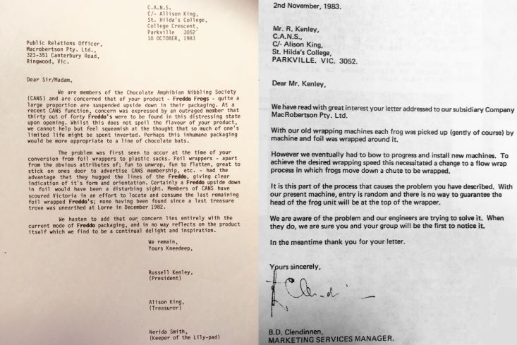 Student letters to Cadbury about freddo frogs