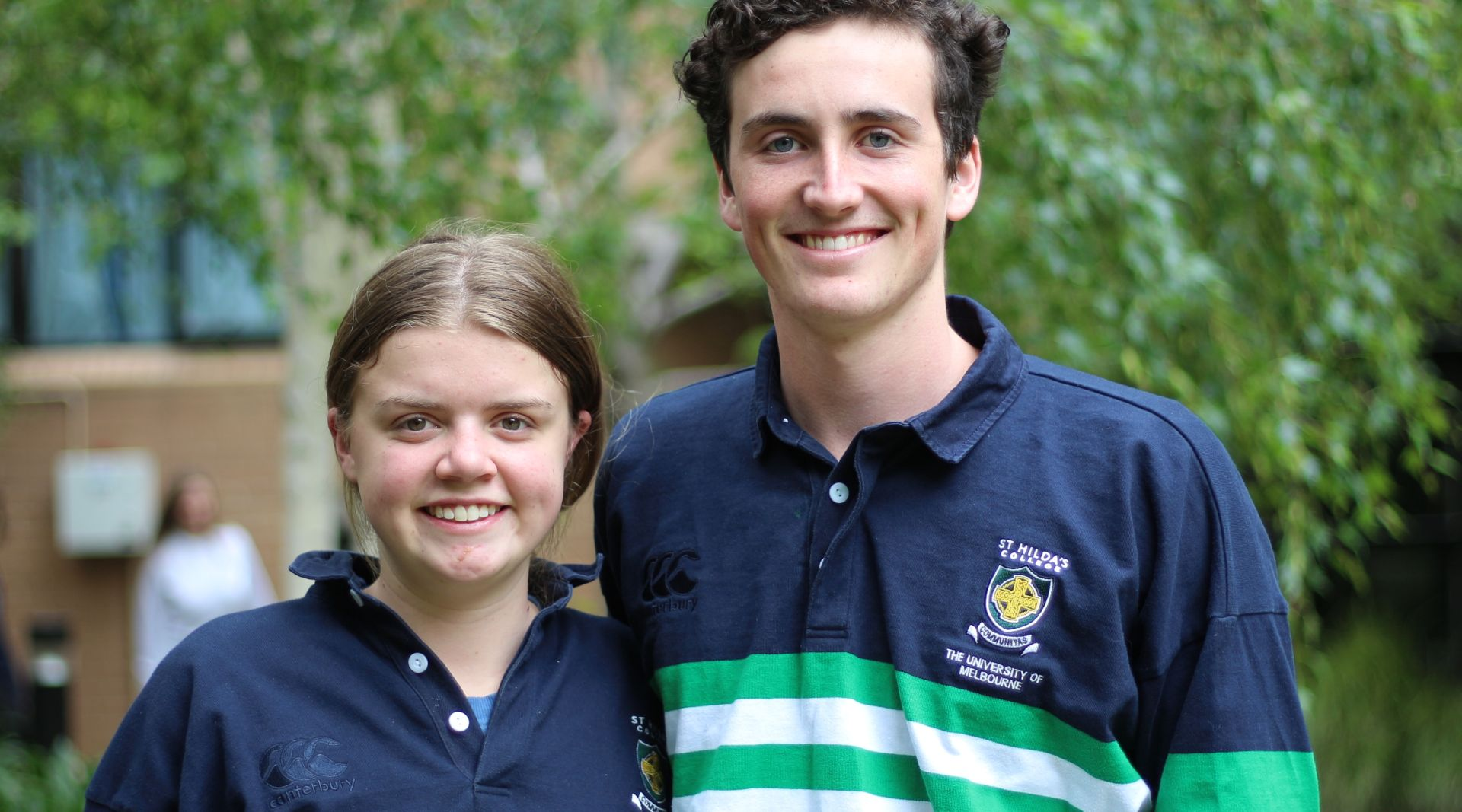 Students at College in Hilda's rugby tops