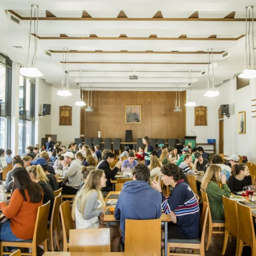 Student community in the Dining Hall at DH lunchtime