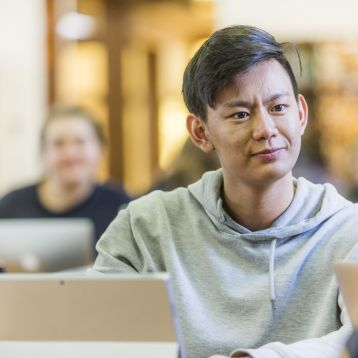 Student in the College library