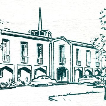 Artist's sketch of the College in 1964
