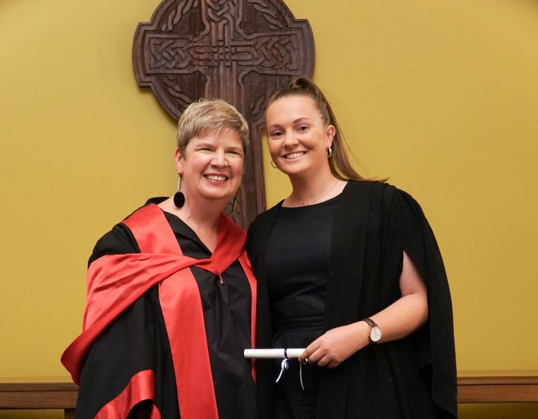 St Hilda's College Principal Dr Brenda Holt and Georgia Sheahan at the St Hilda's Commencement Ceremony